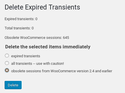 Deleting obsolete WooCommerce sessions from the options table