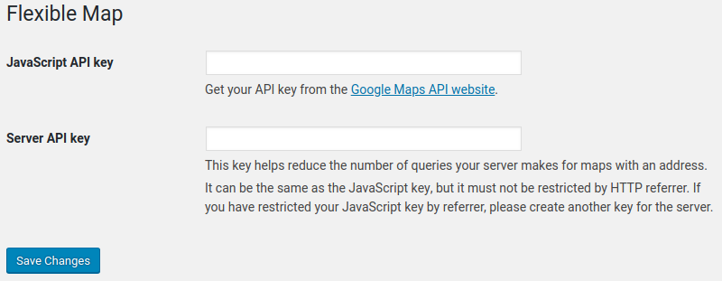 Server API key in Flexible Map settings