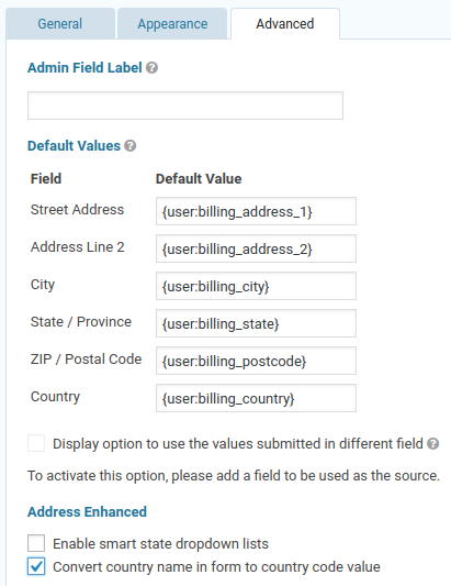 Address Enhanced settings on an address field