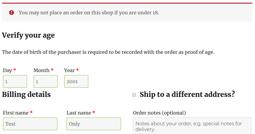 Minimum Age for WooCommerce on the checkout