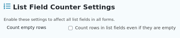 Count empty rows -- allows even empty rows to be counted