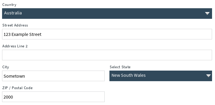 Move the country subfield to the top of the Address field.